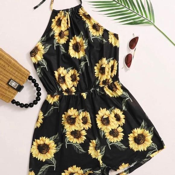 Shein Sunflower Halterneck Romper